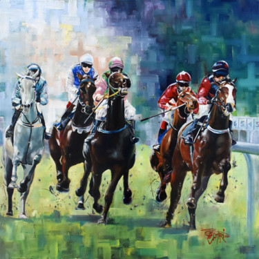 """Painting titled """"Course hippique"""" by Omari, Original Art, Oil Mounted on Stretcher frame"""