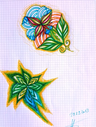 """Drawing titled """"Colourful Paradise"""" by Omsurya Sandra Inti Ruphay, Original Art, Marker"""