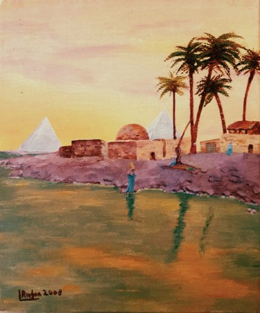 """Painting titled """"Sunset on the River…"""" by L'Orientaliste, Original Art, Oil"""
