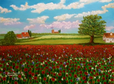 """Painting titled """"Poppies for Remembr…"""" by L'Orientaliste, Original Art, Acrylic"""