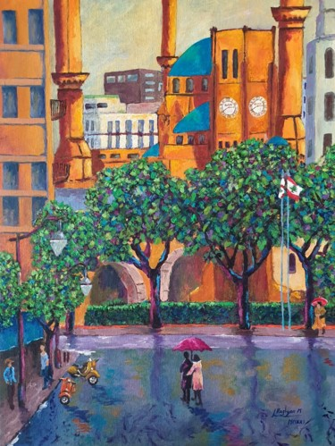 """Painting titled """"Beirut Downtown, Ra…"""" by L'Orientaliste, Original Art, Acrylic"""