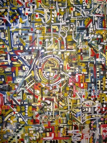 Painting, oil, abstract, artwork by Oscar Galvan
