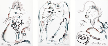 """Painting titled """"March Cats :)"""" by Iryna Tatur, Original Art, Ink"""