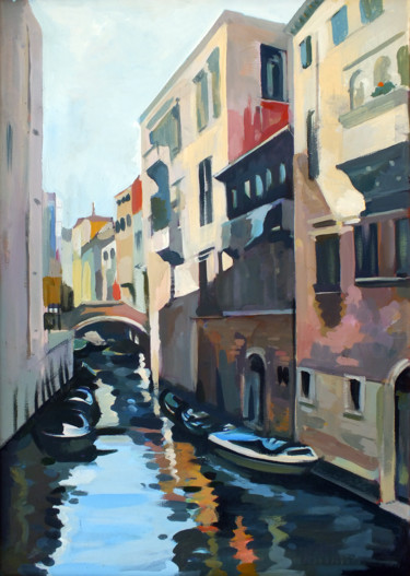 """Painting titled """"Boats in Venice"""" by Filip Mihail, Original Art, Acrylic"""