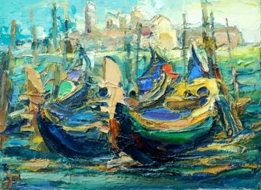 """Painting titled """"Venice, boats"""" by Paintings By Various Artists From Ukraine, Original Art, Oil"""