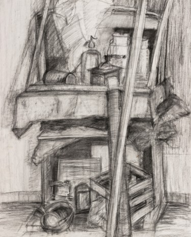 """Drawing titled """"Still Life with Sip…"""" by Pamela Rys, Original Art, Charcoal"""