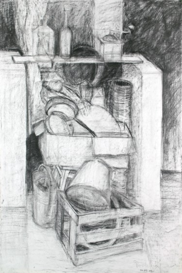 """Drawing titled """"Still Life with Pan…"""" by Pamela Rys, Original Art, Charcoal"""