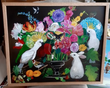 """Painting titled """"Bouquet with birds"""" by Paola Iacovone, Original Art, Oil"""