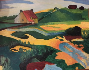 Countryside Painting, acrylic, fauvism, artwork by Pascale Meurgues Berthézène