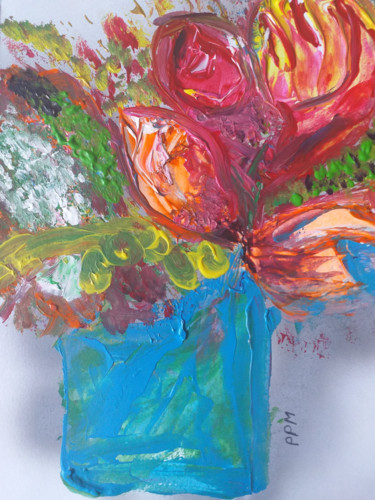 Flower Painting, acrylic, abstract, artwork by Pascale Perrillat