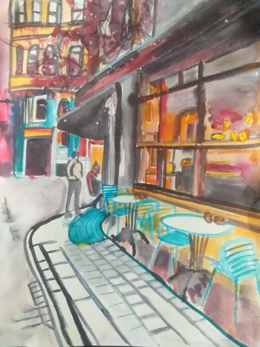 City Painting, ink, figurative, artwork by Pascale Perrillat