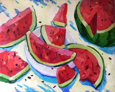 """Painting titled """"Watermelon"""" by Yuliia Pastukhova, Original Art, Oil Mounted on Stretcher frame"""