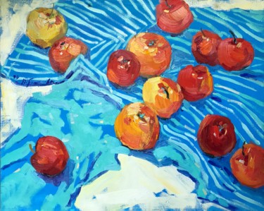 """Painting titled """"Apples"""" by Yuliia Pastukhova, Original Art, Oil Mounted on Stretcher frame"""