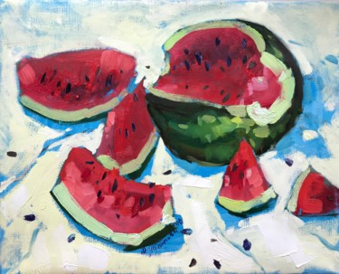 """Painting titled """"Ripe watermelon"""" by Yuliia Pastukhova, Original Art, Oil Mounted on Stretcher frame"""