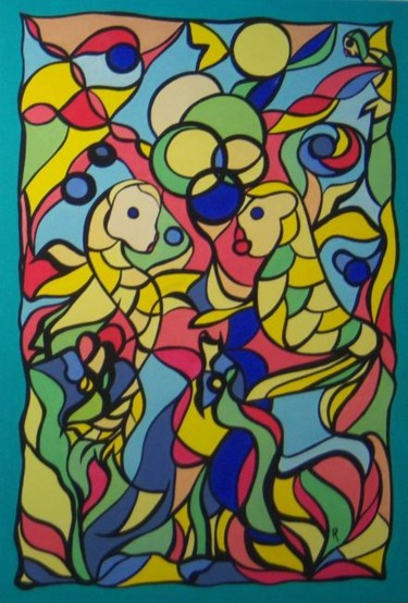 """Painting titled """"VALENTINE"""" by Anne Philippe, Original Art,"""
