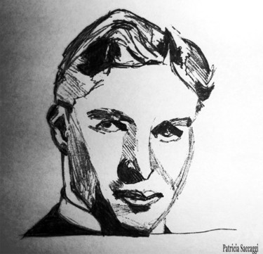 """Drawing titled """"Charlie Chaplin"""" by Patricia Saccaggi, Original Art, Other"""