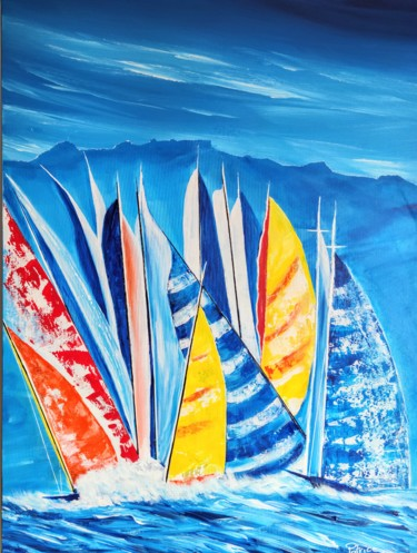 """Painting titled """"Grandes Voiles d'An…"""" by Patrice Le Gall, Original Art, Acrylic"""