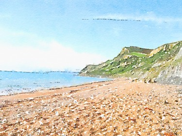 """Painting titled """"Coastal Beach Scene"""" by Patricia Greaves, Original Art, Watercolor"""