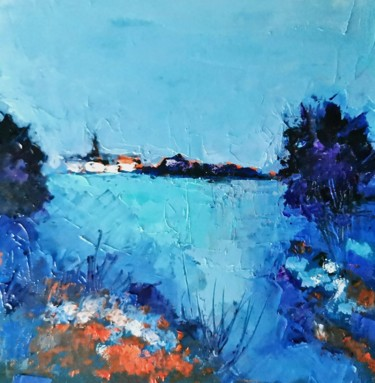 """Painting titled """"Village normand"""" by Patrick Briere, Original Art, Oil Mounted on Cardboard"""