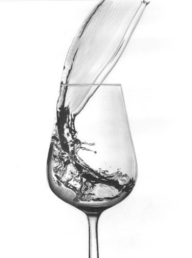 """Drawing titled """"Wine Pour II"""" by Paul Stowe, Original Art, Graphite"""
