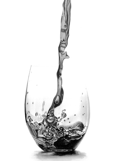 """Drawing titled """"Red Wine Pour II"""" by Paul Stowe, Original Art, Graphite"""