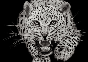 """Drawing titled """"Leopard Attack"""" by Paul Stowe, Original Art, Graphite"""