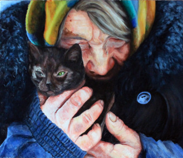 """Painting titled """"Woman and cat"""" by Павел Крашенинин, Original Art, Oil"""
