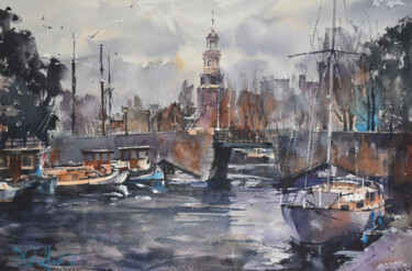 """Painting titled """"Violet Canal"""" by Pawel Gladkow, Original Art, Watercolor"""