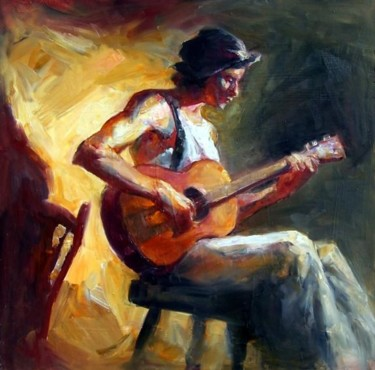 """Painting titled """"Guitar Player"""" by Paz Winshtein, Original Art,"""