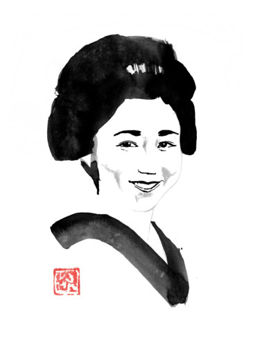 """Drawing titled """"smiling japanese wo…"""" by Péchane, Original Art, Watercolor"""