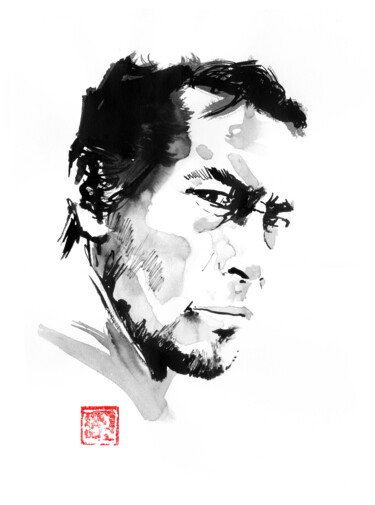 """Drawing titled """"young mifune"""" by Péchane, Original Art, Watercolor"""
