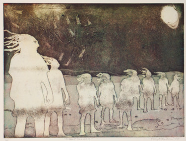 """Printmaking titled """"A Class of Dreamers"""" by Percy Martin, Original Art, Etching"""