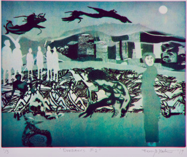 """Printmaking titled """"Dreamers #2"""" by Percy Martin, Original Art, Etching"""