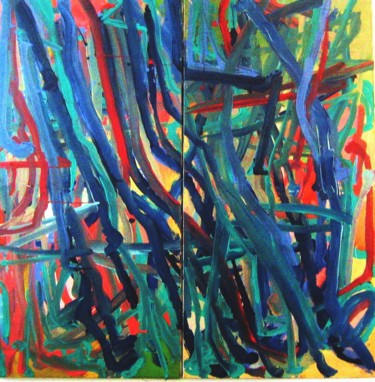 """Painting titled """"Weeds - diptich"""" by Peter Jalesh, Original Art, Acrylic"""