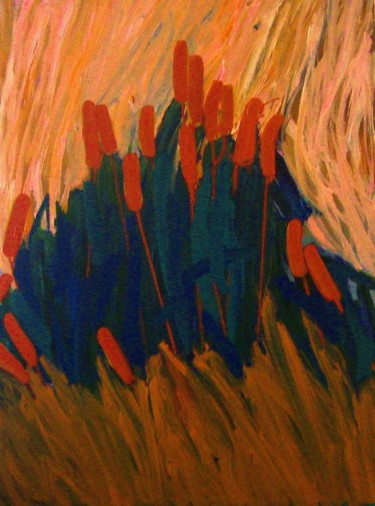 """Painting titled """"Reeds in flower (Si…"""" by Peter Jalesh, Original Art, Acrylic"""