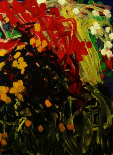 """Painting titled """"Roses and lilies"""" by Peter Jalesh, Original Art, Acrylic"""