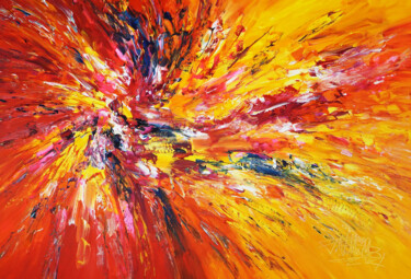 """Painting titled """"Yellow Red Abstract…"""" by Peter Nottrott, Original Art, Acrylic"""