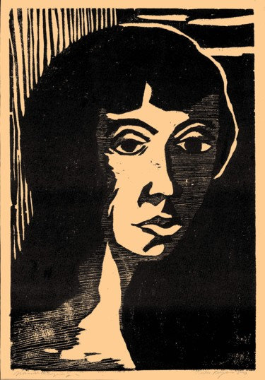 """Printmaking titled """"Profile of a Woman"""" by Peter Royen, Original Art, Xylography"""