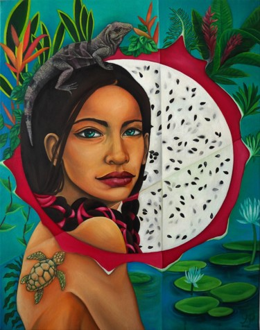 """Painting titled """"CENOTE"""" by Jelena Petkovic, Original Art, Oil Mounted on Stretcher frame"""