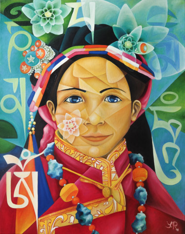 """Painting titled """"OM MANI PADME HUM"""" by Jelena Petkovic, Original Art, Oil Mounted on Stretcher frame"""