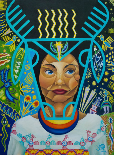 """Painting titled """"HUICHOL"""" by Jelena Petkovic, Original Art, Oil Mounted on Stretcher frame"""