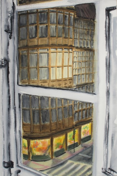 """Painting titled """"The street at night…"""" by Pepe Villan, Original Art, Watercolor"""