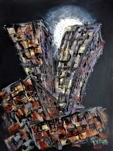 """Painting titled """"The city overwhelms…"""" by Pepe Villan, Original Art, Acrylic"""