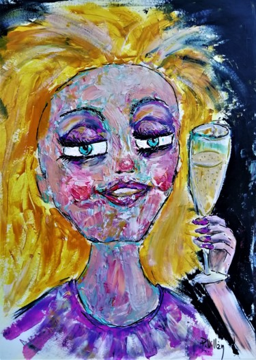 """Painting titled """"Goldie with champag…"""" by Pepe Villan, Original Art, Acrylic"""