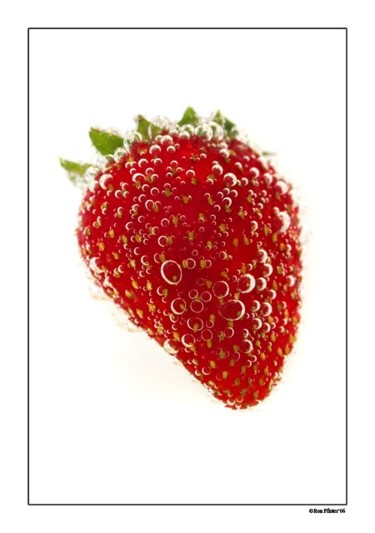 """Photography titled """"Strawberry in Soda"""" by Pfister, Original Art,"""