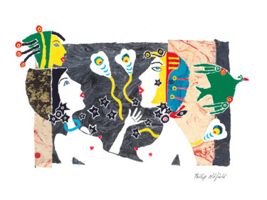 Color Drawing, collages, figurative, artwork by Philip Oldfield