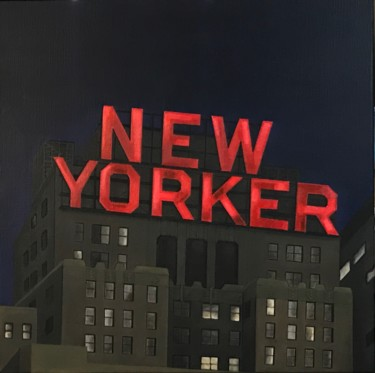 """Painting titled """"New Yorker Hotel"""" by Philippe Manson, Original Art, Acrylic Mounted on Stretcher frame"""