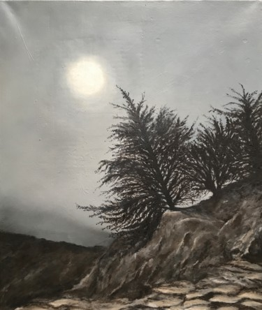 """Painting titled """"The pine trees III"""" by Philippe Manson, Original Art, Oil Mounted on Stretcher frame"""