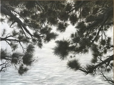 """Painting titled """"The pines trees I"""" by Philippe Manson, Original Art, Acrylic Mounted on Stretcher frame"""
