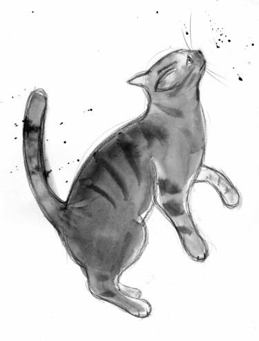 """Drawing titled """"Chat dynamique n° 1…"""" by Philippe Alliet, Original Art, Ink Mounted on Cardboard"""